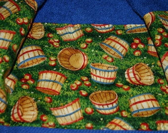 Red apple  Kitchen Towel with a fabric top, kitchen towel, hanging kitchen towel, blue hanging kitchen towel