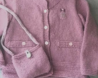 Cardigan vest and matching bag wool pink 3/4 years
