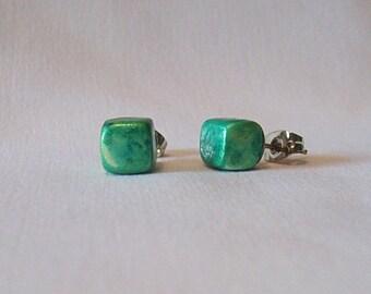 Polymer Clay Raku Cube Stud Earrings- Green