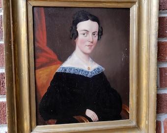 Antique FEDERAL Folk Art Pretty WOMAN Oil Portrait Painting Gold FRAME c1840-50s