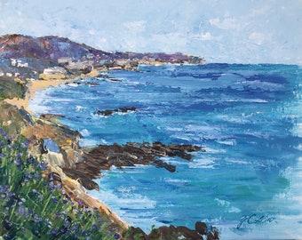 "Original Acrylic Painting Impressionism オリジナル画 ""Treasure Island, Laguna Beach""  11"" X 14"" by Yoko Collin"