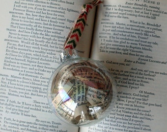 Shakespeare Christmas Ornament -Literary gift, book page