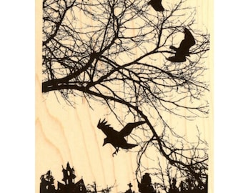 Very Rare wood Crowscape mounted  rubber stamp NEW Crows Ravens