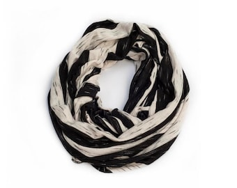 Petite Infinity Scarf, 4 Wearing Options- Shawl, Shrug, Crisscross And Scarf. Everyday Scarf, Black & White Stripes. Gift For her