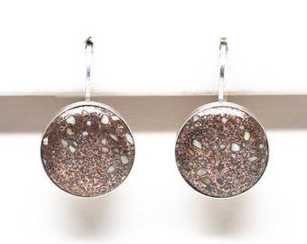 Copper Firebrick Sterling Silver 12 mm Round Earrings