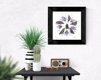 Giclée Art Print - Amethyst  and Moth Wing Mandala - Watercolor Crystals - Moth Wings-  Mixed Media - By Rachael Caringella  Tree Talker Art