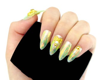 Fairy Jewelry Nails / Fake nails, glue on nails, press on nails, nail art, gift women, fantasy, opal, disney, holographic, tinkerbell, drag