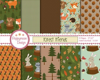 Forest friends,bear, squirrel, fox,woodland, printable digital paper pack