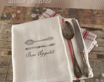 Kitchen Towel spoon and knife, tea towels, kitchen cloth, kitchen towels, kitchen retro, kitchen
