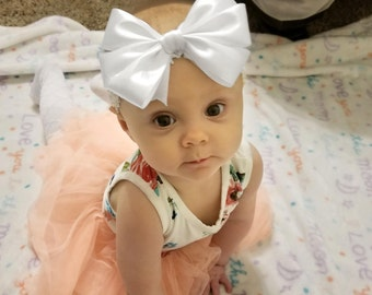 Glitz and Glam, White (Hair Bow Attached by Band, Newborn-3 Yrs)