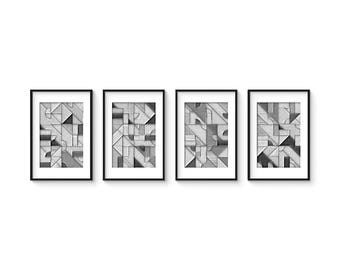UNCOLORED - Set no.1 - Collection of (4) Giclee Prints - Abstract Geometric Pencil Sketch Mid Century Modern