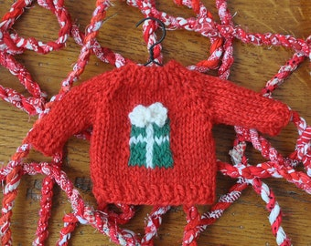 Gift with Bow Sweater Hand-Knit Ornament