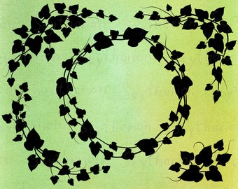 Ivy Wreath svg   5 wreaths, wreath clipart, wreath leaves monogram frame circle set vector christmas garden wedding   eps png svg files