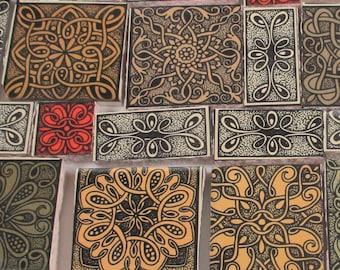 Ceramic Mosaic Tiles - Celtic Knot Mosaic Tile Pieces - Focal Pieces Mosaic Tile Celtic - 35 Pieces - Mosaic Art / Mixed Media Art/Jewelry