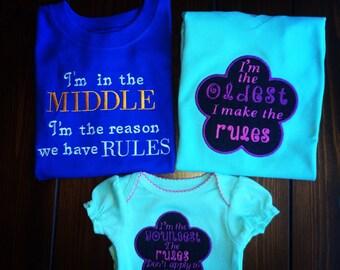 MIDDLE child shirt, sibling shirt, girls shirt, boys shirt, I'm the reason we have rules