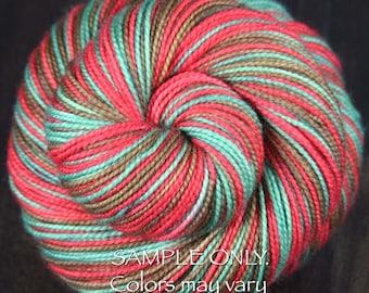"Dyed to Order ""POPPY"" Superwash Merino Wool-Nylon - Hand dyed sock yarn - Self-striping sock yarn - Spring colors"