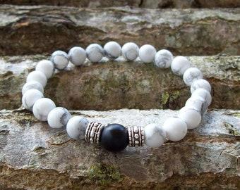 Mens bracelet, Mens, Men bracelet, Gift for men, Onyx bracelet, Husband gift, Mens jewelry, Mens onyx bracelet, howlite bracelet, gifts