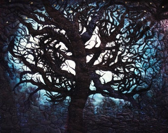 An art quilt for sale, unique silk painting, tree silhouetted by moonlight. Mounted on stretcher boards.
