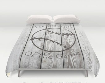 Distressed Stamped Baseball on Slatted Fence / Duvet Cover or Comforter Bedding Art / Sizes Twin, XL Twin, Full, Queen, & King
