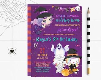 Halloween Birthday Invites, Halloween Invite, Halloween Birthday Party Invitation, Halloween Invite, Halloween Birthday Party Printable,