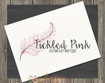 Tickled Pink Feather Logo Design, Premade Logo, Instant Download Logo, Feather Logo, Watercolor Logo, DIY Logo, PSD Logo Template,  Logo #15