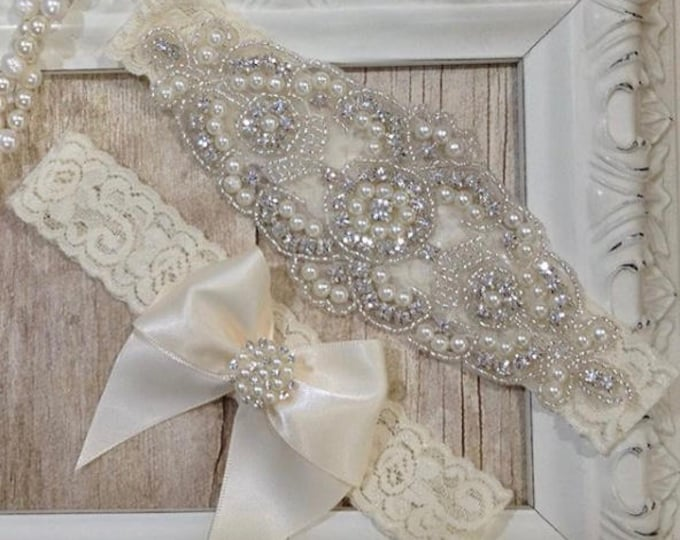 Featured listing image: Wedding garter, wedding garter set, Customizable Ivory Lace Garter Set, Bridal Garter Set, Bridesmaid Gift, Prom, Garters for wedding