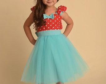 retro dress, size 6/12m,  baby dress, Girls dress, birthday dress, retro flower girl dress, Polka Dot dress tutu dress, ROCKABILLY dress