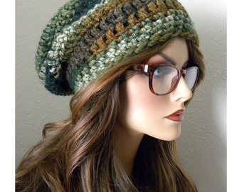 Green Chunky Slouchy Beanie, Winter Hat,  Crocheted Beanie Hat, Womens Chunky Slouch Hat, Gift for Teens, Winter Accessories
