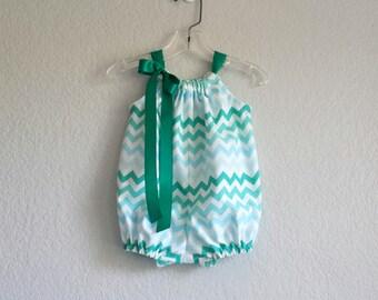 Baby Girl Chevron Stripe Bubble Romper - Aqua Teal & White Chevron Stripe Sunsuit - Baby Girl Clothes - Size Newborn, 3m, 6m, 9m, 12m or 18m