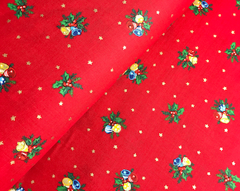 Holiday Bells in Red from the Under the Christmas Tree 2017 Collection by Lecien, Choose the Cut, Christmas Fabric, Holiday
