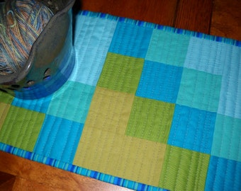Quilted Modern Aqua and Teal Patchwork Table Runner - Quilted SquaresTable Topper, Quiltsy Handmade