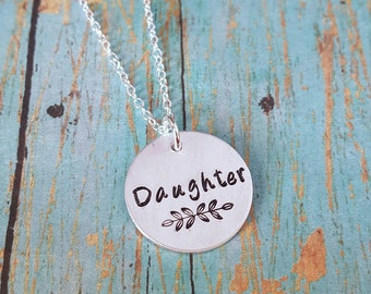 Daughter Necklace - Daughter - Gift for Daughter - Daughter Jewelry - Daughter Gift - Daughter Birthday - Jewelry for Daughter - Handstamped