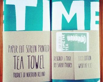 Time for tea - Screen printed tea towel by Sarah Majury