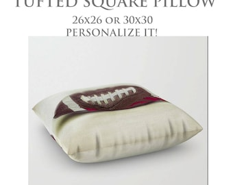 Large Floor Pillow-STUFFED Pillow-Football Floor Pillow-Sports Decor-Round Floor Pillow-Floor Cushion-Made To Order Pillow-Tufted Pillow