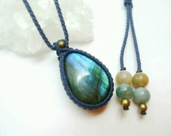Love Dorado Light Natural stone macrame braided Pendant