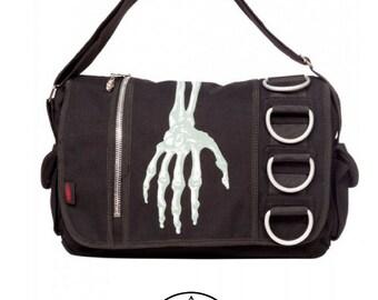 Skeleton Hand Handbag - Gothic skeleton skull Handbag D-Ring O-Ring