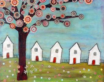 Folk Art House Painting Art Block Print Mixed Media Collage