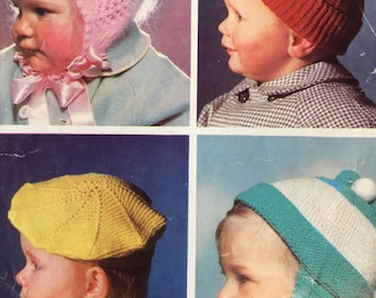 Baby Knitting Pattern -   Hats -  Knitting Pattern -  Original Pattern -  Children's  Knitting Pattern - Bonnet - Vintage hat to knit