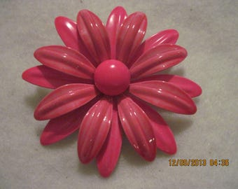 Vintage STUNNING 2 Toned HOT Pink Flower Metal Brooch...#6064