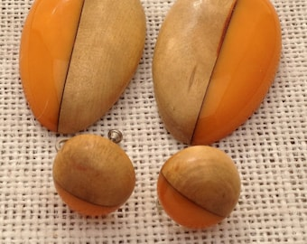 Set of Dress Clips And Earrings Maple Wood And Orange Bakelite