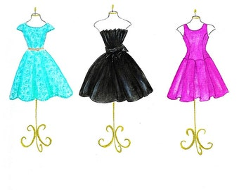 Teal black hot pink dresses fashion illustration- teen bedroom art- watercolor fashion dresses print- girls room decor- fashion wall art