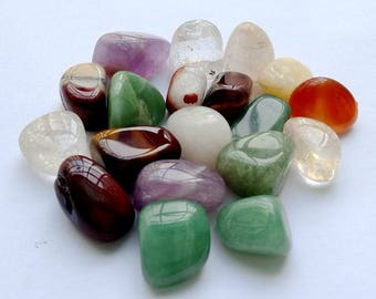 "Natural Polished Tumbled Stone Mix-20Pcs Healing Crystals,Size - 0.8"" to 1"" Approx"