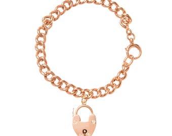 Antique Rose Gold Curb Link and Heart Bracelet