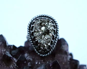 Pyrite Cluster Statement Ring Sterling Silver Size 8 Oxidized