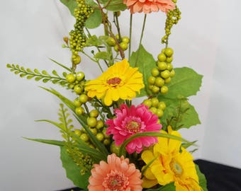 Silk Peach, Pink and Yellow Gerberas in a Gray Ceramic Vase