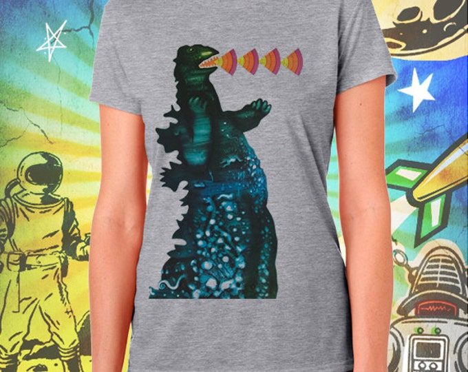 Godzilla / Poster / Women's Gray Performance T-Shirt