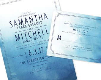 Watercolor Wedding Invitation | Ombre dip dyed Wedding Invitation | DIY Option Available | Invitation | RSVP | Info Card #1178