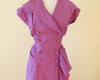 Vintage 1950's dress | wiggle dress | purple dress | purple wiggle dress | double breasted dress | big lapels | sarong dress | mad men dress