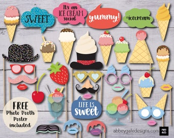 Printable ice cream etsy ice cream party photo booth props birthday party props printable photo booth photobooth props ice cream photo booth photo booth pdf ccuart Image collections