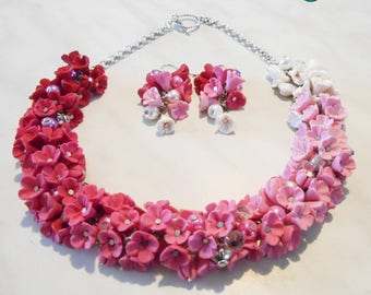 Necklace and earrings, shaded cascade of fimo flowers, handmade